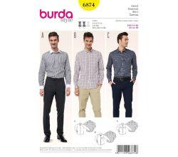 Střih Burda 6874 - Pánská košile, košile se skrytým zapínáním