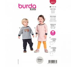 Střih Burda 9273 - Šatičky a tričko pro miminko - kombinace 2 střihy