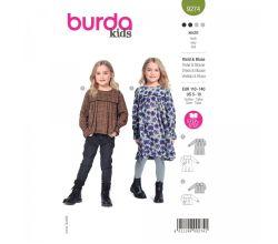Střih Burda 9274 - Dívčí šatičky a halenku se sedlem