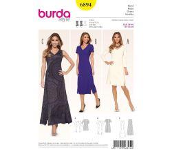 Střih Burda 6894 - Áčkové šaty, midi šaty, dlouhé šaty