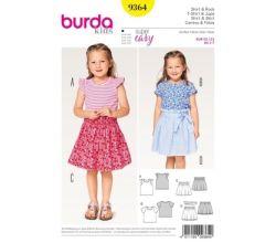 Střih Burda 9364 - Dětské jednoduché tílko, tričko, sukně
