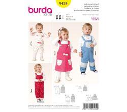 Střih Burda 9424 - Dětské laclové kalhoty, lacláče, laclové šaty