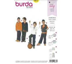 Střih Burda 9672 - Mikina, mikina s kapucí, vestička, tepláky