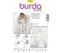 Střih Burda 9831 - Mikinka, kalhoty, bodýčko a šatičky