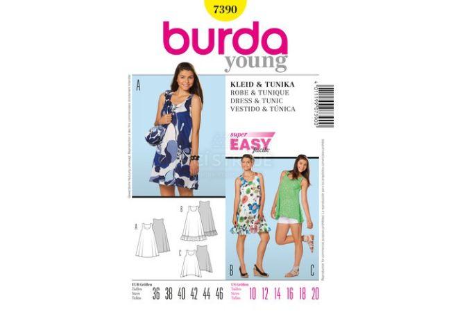 Střih Burda 7390 - Jednoduché letní šaty, mini šaty, tílkové šaty, tílko