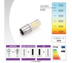Žárovka LED 230V, 2W pro šicí stroje a overlocky - bajonet