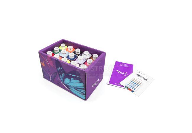Krabička 15 barev nití a jehly TEXI BOX 15