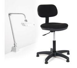 Sada židle a LED lampy pro šicí dílnu TEXI COMFY M