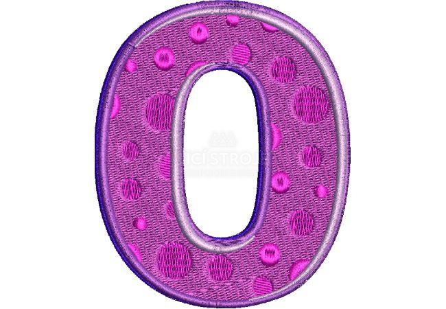 Výšivka číslice 0 - varianta 1
