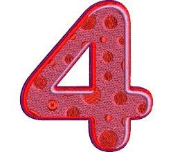 Výšivka číslice 4 - varianta 1
