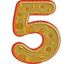 Výšivka číslice 5 - varianta 1