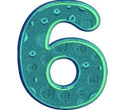 Výšivka číslice 6 - varianta 1