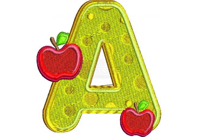 Výšivka písmeno A - varianta 1