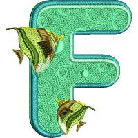 Výšivka písmeno F - varianta 1