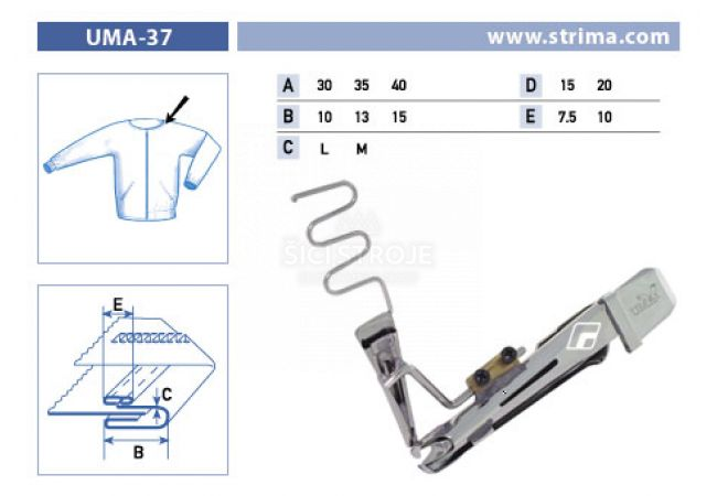 Zakladač pro šicí stroje UMA-37 35/13x15/7,5 M