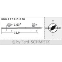 Strojové jehly pro průmyslové šicí stroje Schmetz 16X2 R TW 80