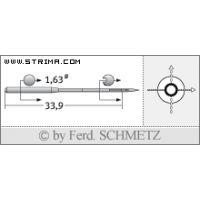 Strojové jehly pro průmyslové šicí stroje Schmetz 16X231 65