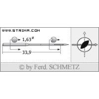 Strojové jehly pro průmyslové šicí stroje Schmetz 287 LR 100