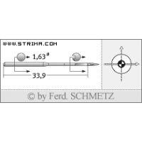 Strojové jehly pro průmyslové vyšívací stroje Schmetz DBXK5 SES 70