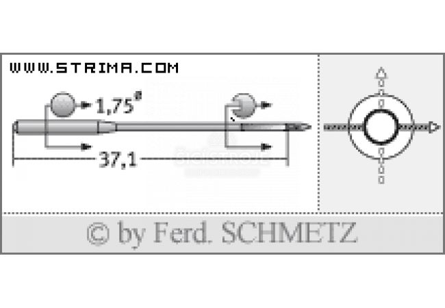Strojové jehly pro průmyslové šicí stroje Schmetz TQX1 90