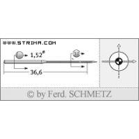 Strojové jehly pro průmyslové šicí stroje Schmetz UY 118 GKS SES 80