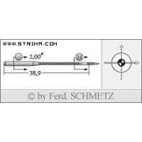 Strojové jehly pro průmyslové šicí stroje Schmetz UY 128 GAS SES 90