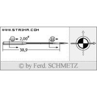 Strojové jehly pro průmyslové šicí stroje Schmetz UY 128 GAS SKF 80