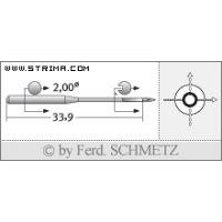Strojové jehly pro průmyslové šicí stroje Schmetz SY 1906 75