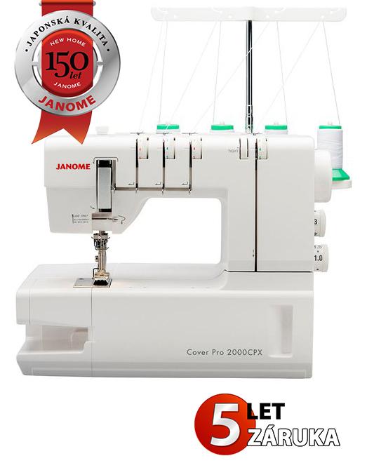 JANOME 2000 CPX + zdarma Jehly pro coverlocky ELx705 VCS 80