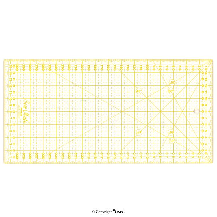 Rastrové pravítko pro patchwork 16x32cm, žluté TEXI 4067