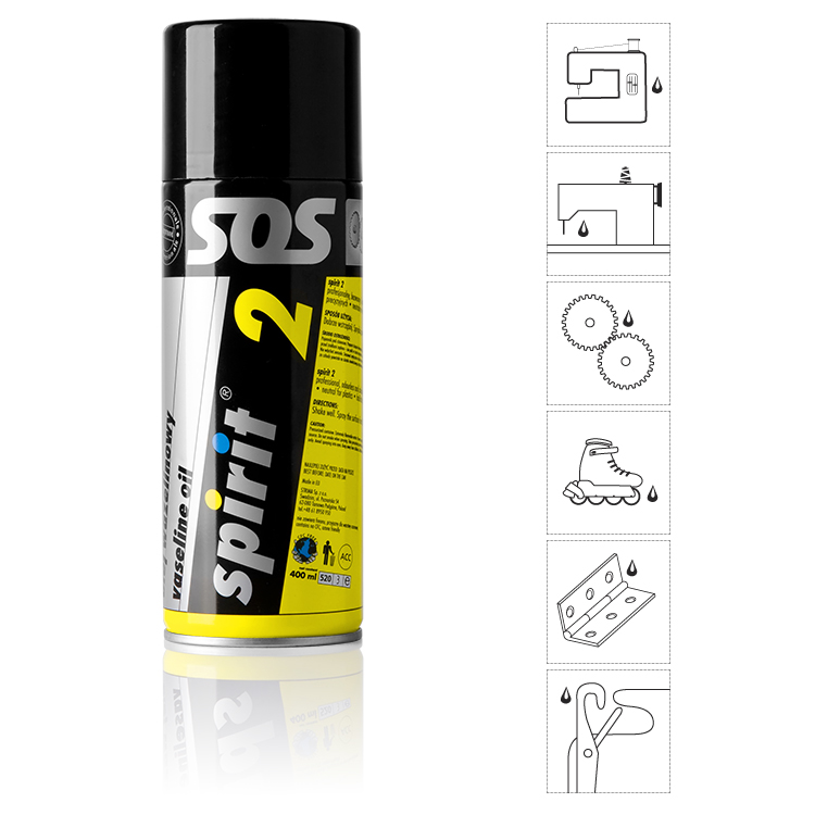 Olej pro stroje, kola, zámky SPIRIT 2 - spray 400 ml