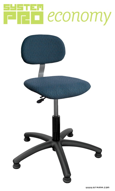 Průmyslová otočná židle - polstrovaná, patky Eco5